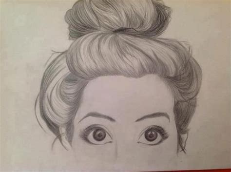 pretty girl face drawing messy bun drawing art inspiration pinterest on