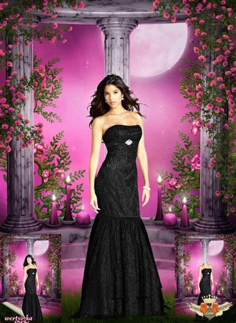 stylish ladies evening dress psd template costume