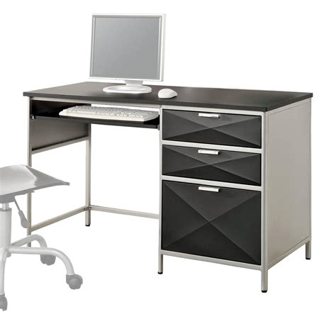 Black And Silver Computer Desk Venetian Worldwide Largo Silver Black Computer Desk Modern Computer Desk