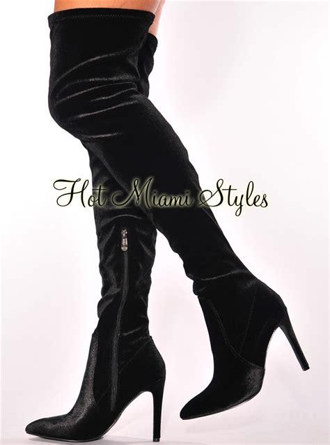 High Heels Elizabeth Pointed Velvet Black black velvet point toe high heel boots