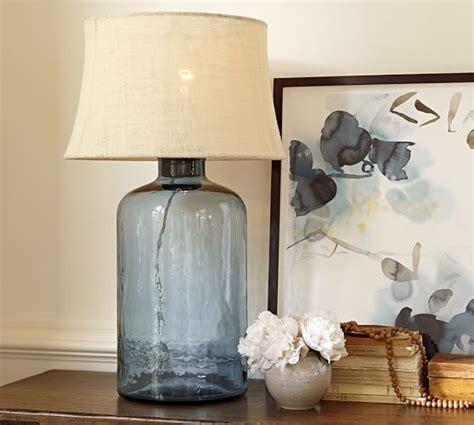 Pottery Barn Clift Glass Table Lamp Base Light Blue