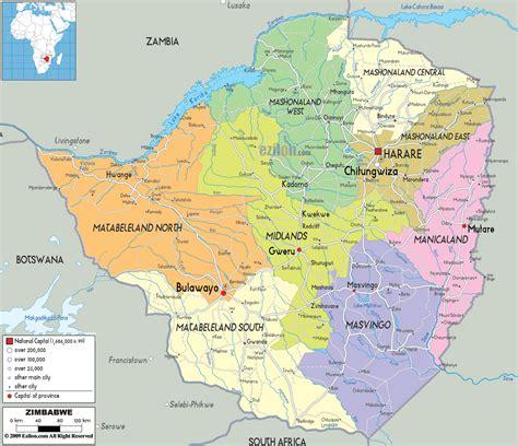 detailed political map  zimbabwe ezilon maps
