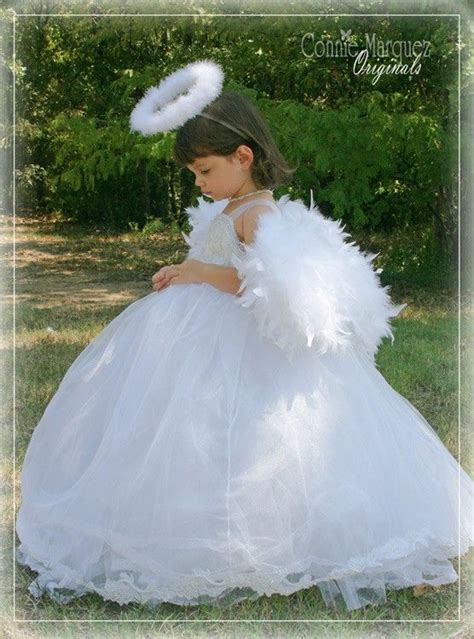 angel costume flower girl dress wings custom handmade