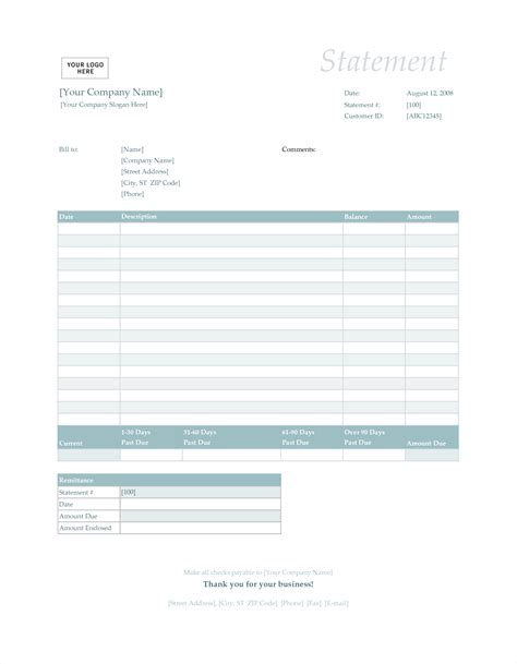 invoice statement template free bill statement template mughals