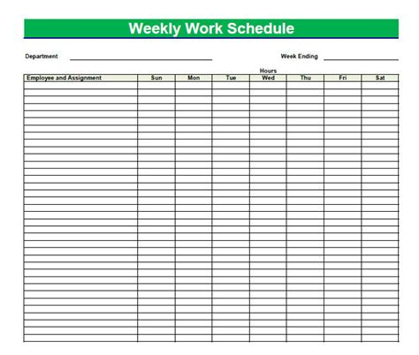 free blank work schedule template