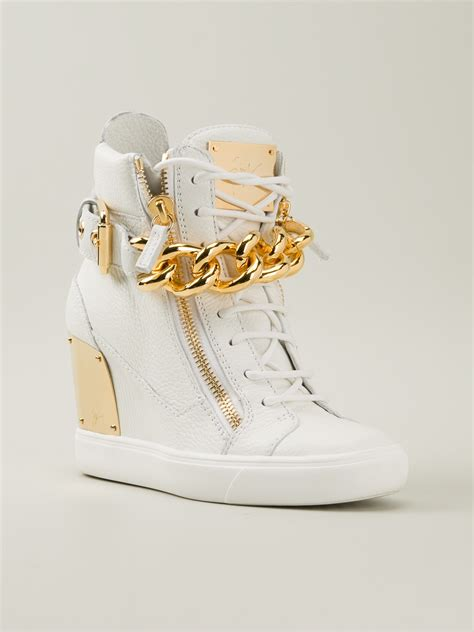 giuseppe zanotti sneaker wedge giuseppe zanotti wedge hitop sneakers in white lyst