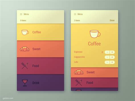 menu design mobile app menu app interface by gal shir dribbble