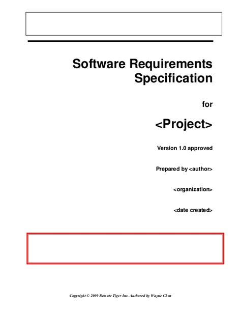 software specification template software requirement specification master template