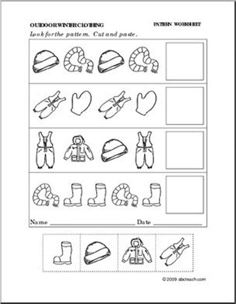 pattern continuation worksheet worksheet winter clothing follow the pattern preschool