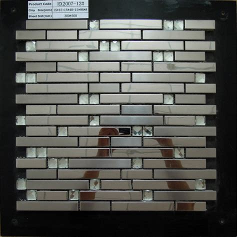 stainless steel metal tile mosaic kitchen backsplash