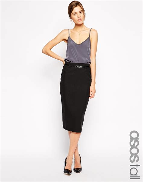 Maxi Pencil Skirt Exclusive asos exclusive belted pencil skirt in midi length in black