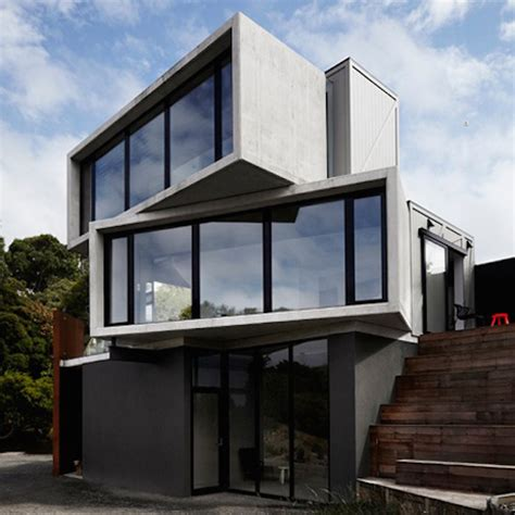 pod house concrete timber boxes house fubiz media