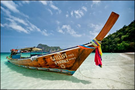 thai boat traditional thai long tail boat koh phi phi thailand