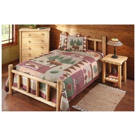 cedar bedroom sets castlecreek cedar log bed king 235870 bedroom sets at sportsman s guide