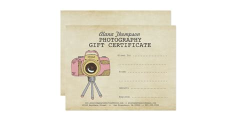 photography gift certificate templates photographer photography gift certificate template card