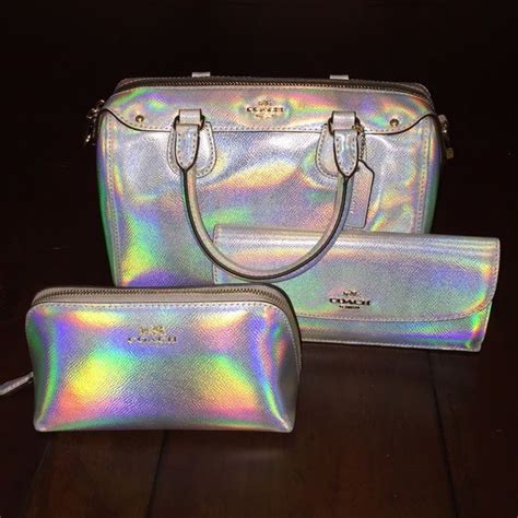 Coach Set Pouch 7105 Bordirpermata coach hologram set coach silver hologram purse wallet makeup pouch only set available this