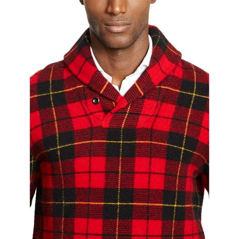 Plaid Sweater lyst polo ralph plaid shawl collar sweater in