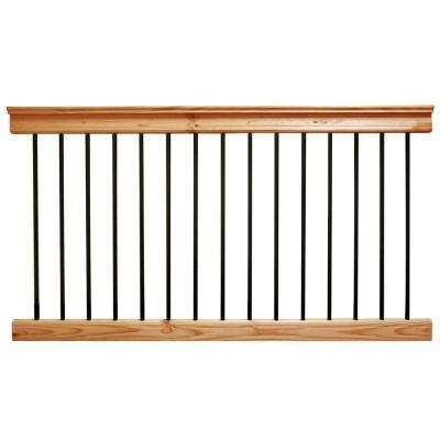 Banisters And Railings Home Depot by Deckorail 6 Ft Aluminum Cedar Tone Southern Yellow Pine