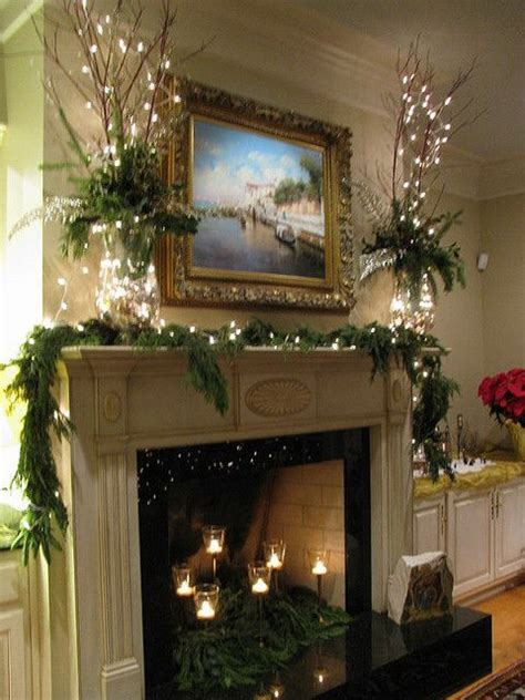glass vases on the mantle a string of white lights