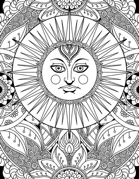 sun coloring page for adults sun goddess doodle art adult coloring page karyn lewis
