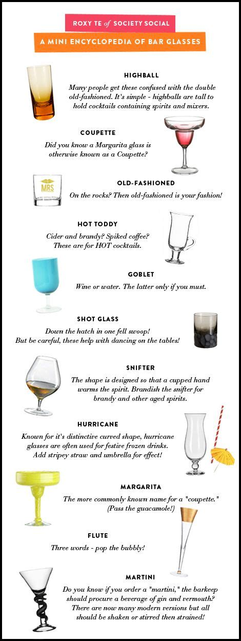 barware glasses types types of glasses drinks pinterest
