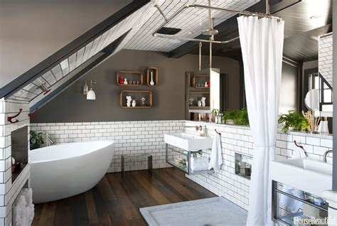 Masculine Attic Bathroom   House Beautiful Pinterest