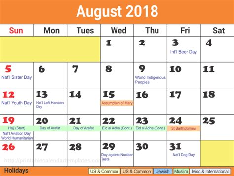 event calendar template august 2018 august 2018 calendar printable template site provides