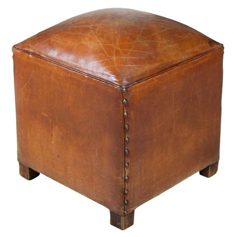 Square Leather Ottoman Square Leather Poof Ottoman At 1stdibs