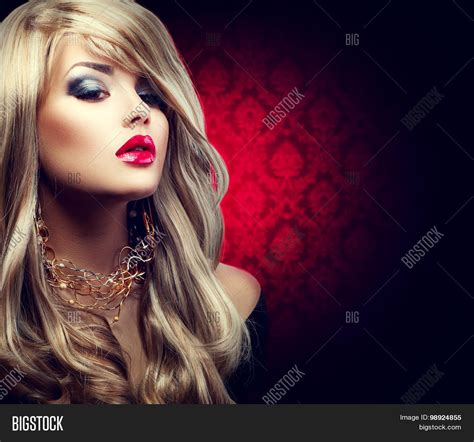 blonde girl with red lipstick beautiful sexy blonde woman long image photo bigstock