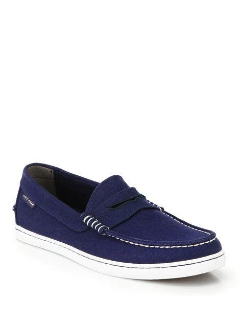 cole haan blue loafers cole haan pinch weekender canvas loafers in blue for