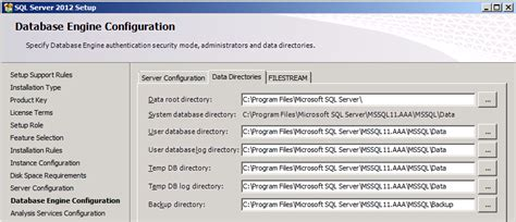 configure xp root directory sql 2012 data directories recommendations