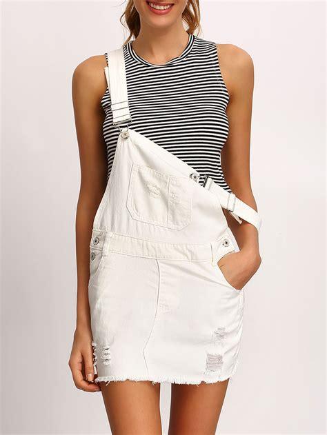 white overall dress white frayed denim overall dress shein sheinside