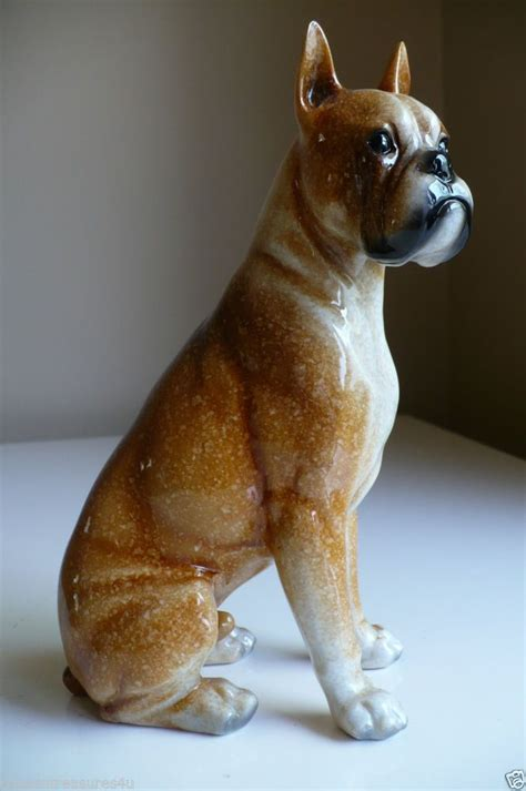 puppy figurines boxer ceramic sitting statue dogs figurine puppy 8 inches pet can