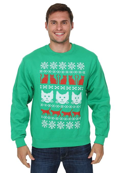 mens pattern christmas jumper ugly christmas sweater kitty pattern mens sweater