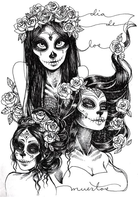 day of the dead art coloring pages sugar skulls by khaedin on deviantart