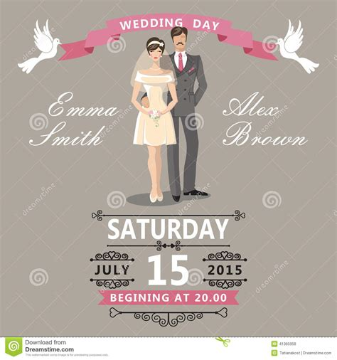 template for wedding card from to groom and groom wedding invitation stock