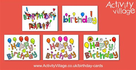 printable birthday cards activity village 5 bright new birthday cards to print
