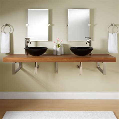 mounting a vessel sink 73 quot teak wall mount vessel sink vanity rectangular