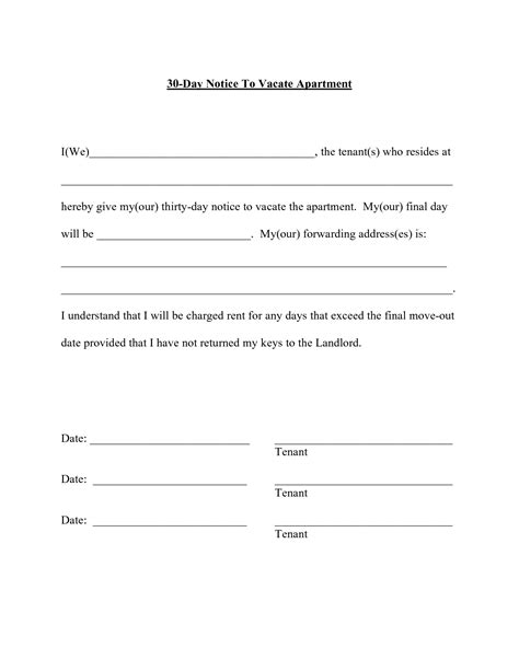 template for 30 day notice to landlord best photos of 30 day notice to landlord sle letter