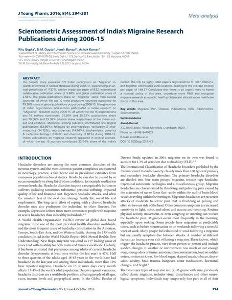 migraine research paper scientometric assessment of india s pdf