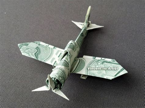 Dollar Origami Plane - zero fighter plane money origami vincent the artist