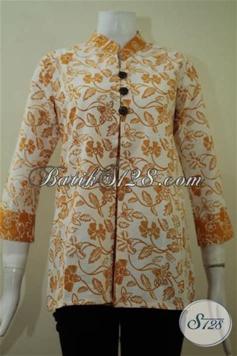 Baju Batik Pastel Kuning pakaian batik blus berkelas warna kuning dasar putih baju batik lengan tiga perempat sangat