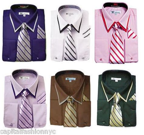 Dress Inc Necklace Material Cotton D8698 classic s cuff dress shirt set w tie and