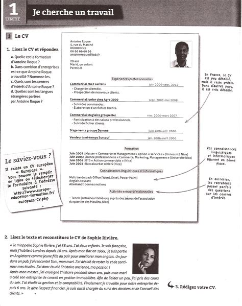 Comment Faire Un Cv En Franàçais by Comment Faire Un Cv En Fran 195 167 Ais