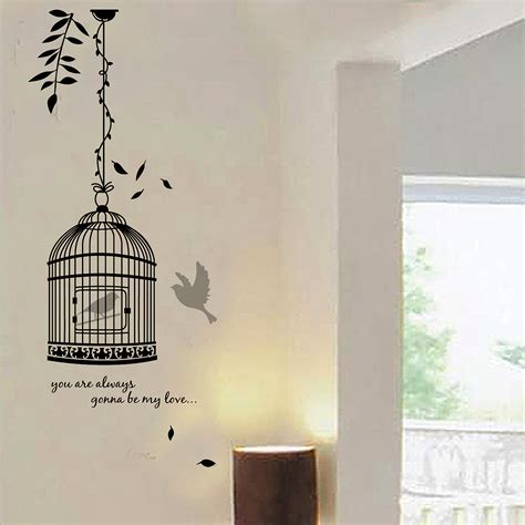 birdcage wall sticker quote birdcage wall decal decoration room stickers vinyl