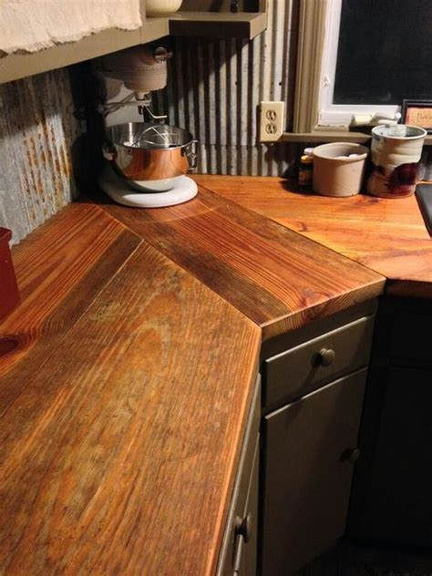 this wood countertop with corrugated sheet metal in