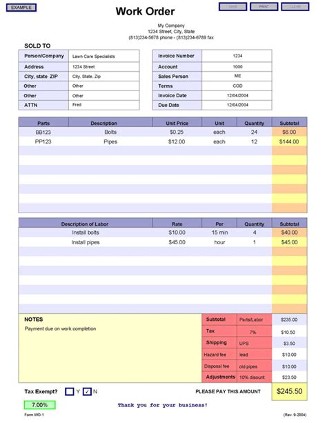 layout work order work order form template bing images