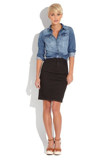 denim shirt with black skirt american classic