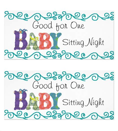 free printable gift certificates for babysitting babysitting coupon clip art clipart collection 4