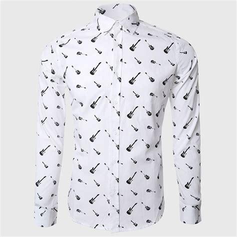 Guitar Pattern Shirt | men rock print shirts white casual shirt long sleeve music